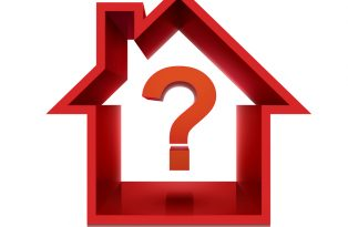 graphic for real estate business with question mark isolated on white background